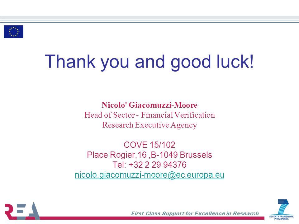 Thank you and good luck! Nicolo Giacomuzzi-Moore