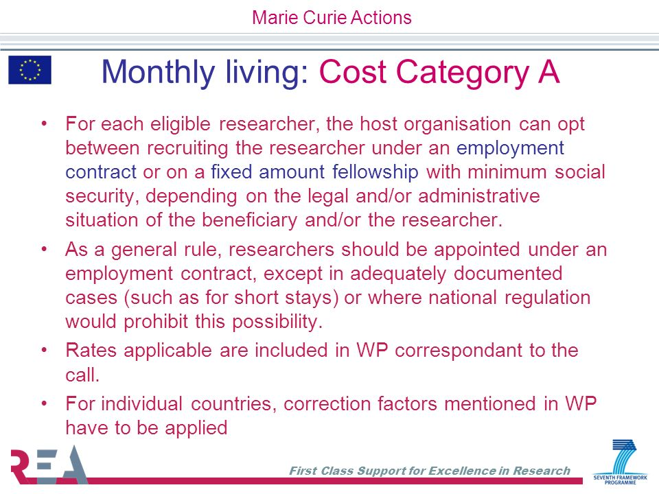 Monthly living: Cost Category A