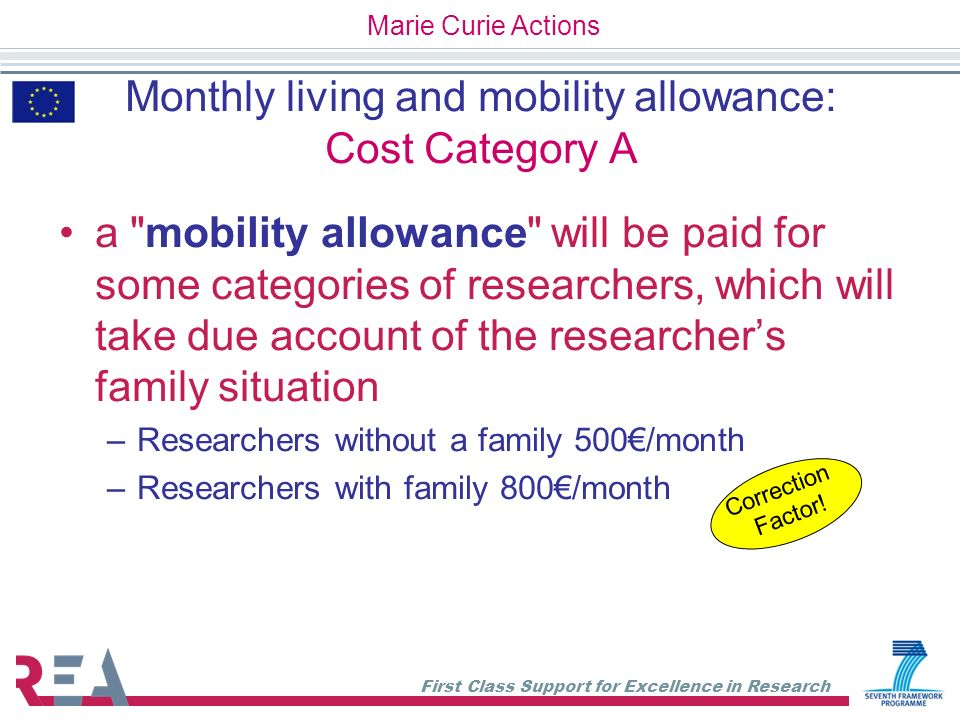 Monthly living and mobility allowance: Cost Category A