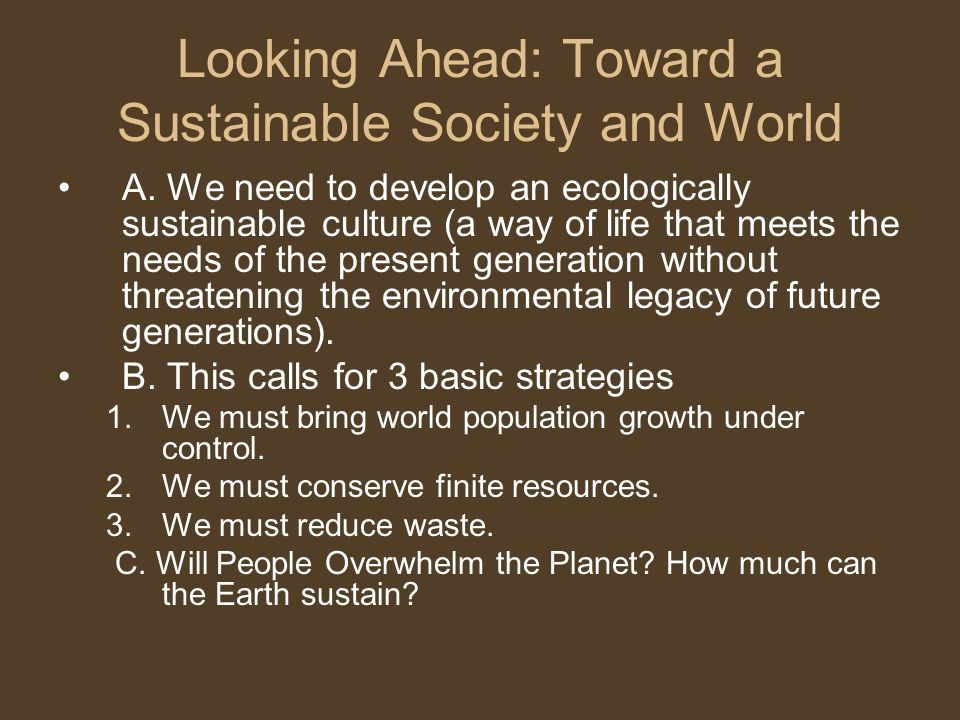 Looking Ahead: Toward a Sustainable Society and World