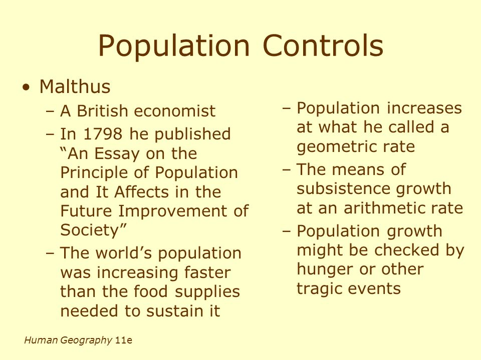human geography population ppt video online  25 population controls malthus