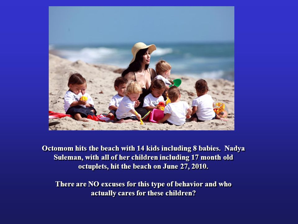 Octomom hits the beach with 14 kids including 8 babies