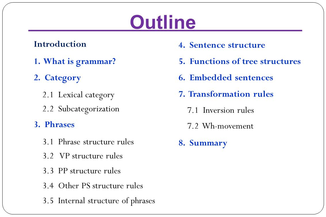 Sentence structure 1 what is grammar