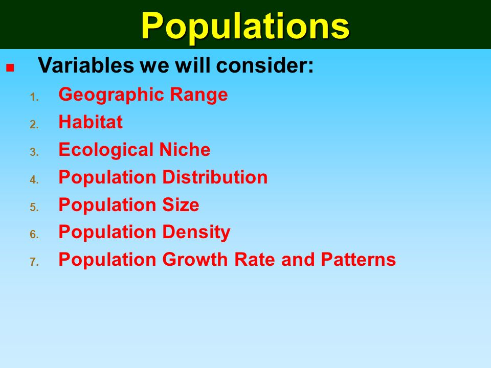 Population and Demographic Variables