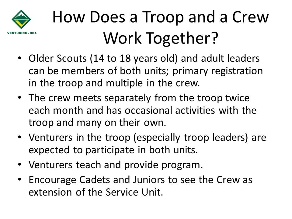 How Does a Troop and a Crew Work Together