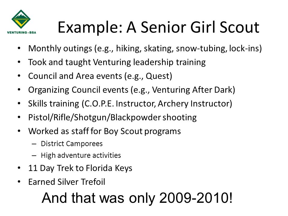 Example: A Senior Girl Scout