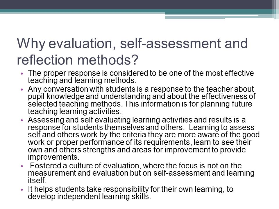 self assessment and reflection paper your personal learning Of sophistication where application becomes integral to their pedagogy data sources, comprised of pre-service teachers' reflection products of their content knowledge (ie, self- assessment of conceptual papers), dispositions (ie, self- assessment of professional and teaching dispositions and examination of personal.