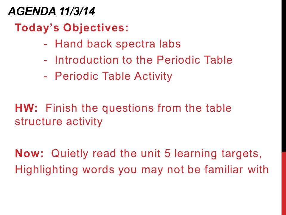 Unit 5 the periodic table ppt download agenda 11314 todays objectives hand back spectra labs urtaz Images