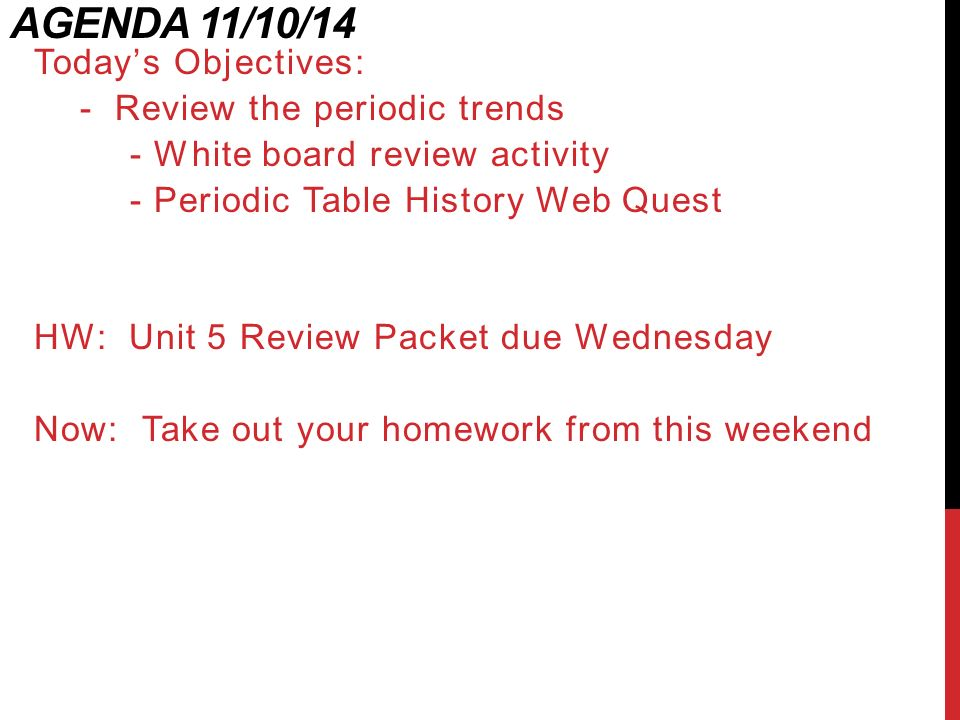 Unit 5 the periodic table ppt download agenda 111014 todays objectives review the periodic trends urtaz Choice Image
