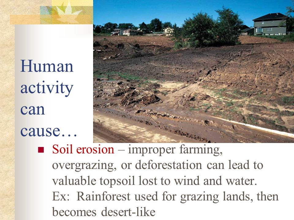 Ecology chapters 3 4 5 and ppt video online download for Soil erosion causes