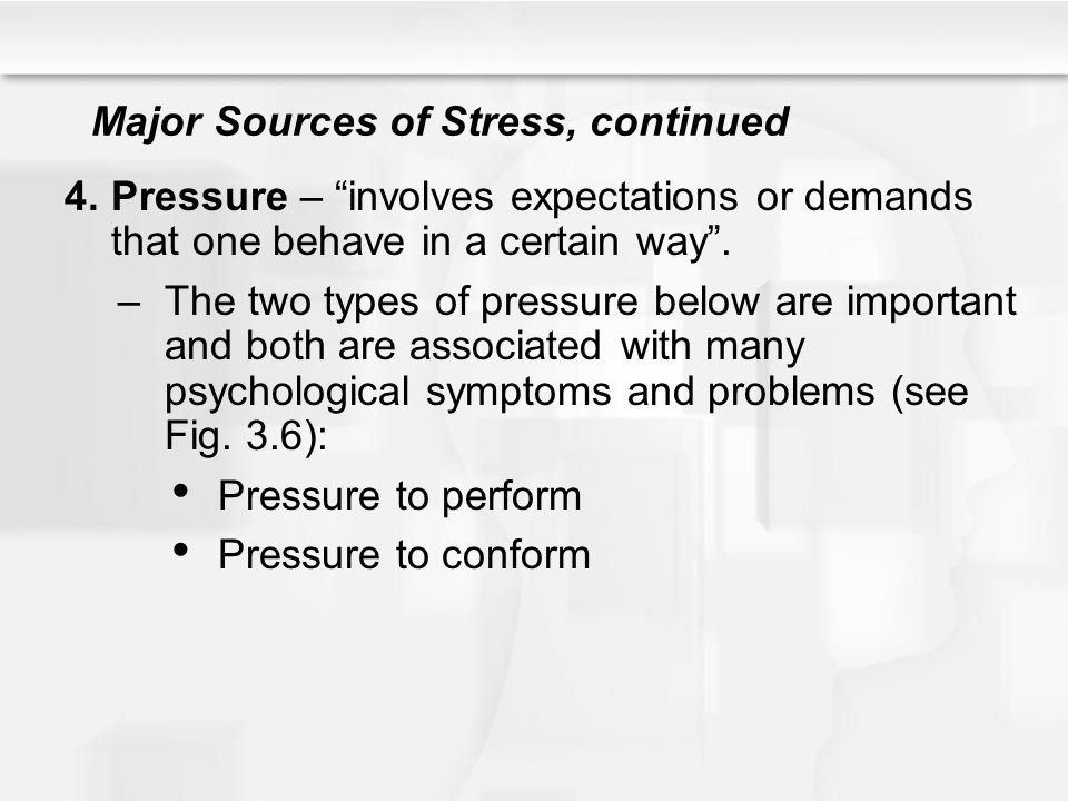 major sources of stress Although there are a variety of sources of stress in people's lives, many people look for stress help in dealing with predominantly six main sources of stress here is a quick overview and summary of each of the six main sources of stress:.