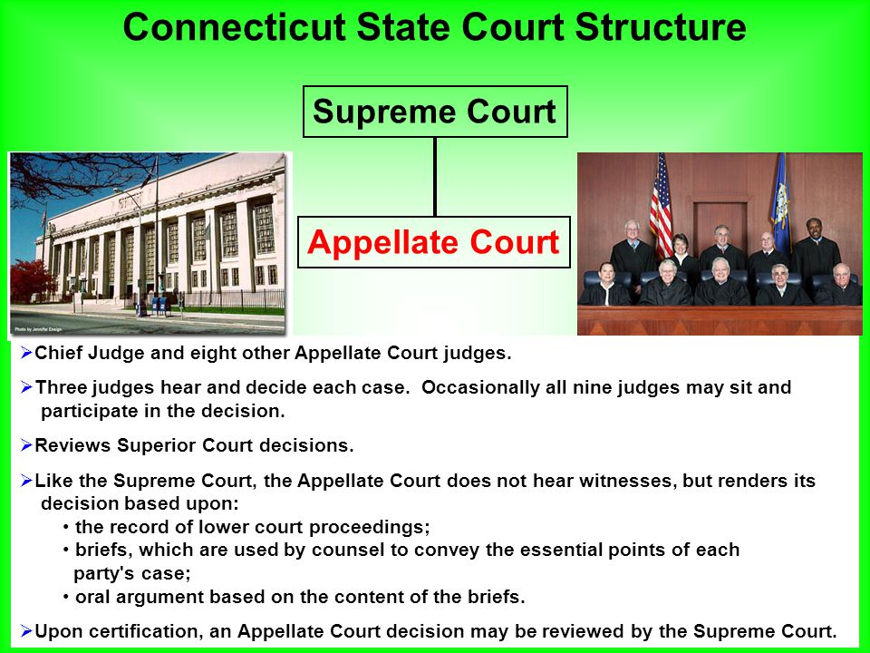 an overview of the state court system of connecticut Name of preparer: christopher m vossler city and state of firm: hartford, connecticut overview of state of rhode island court system a trial courts.