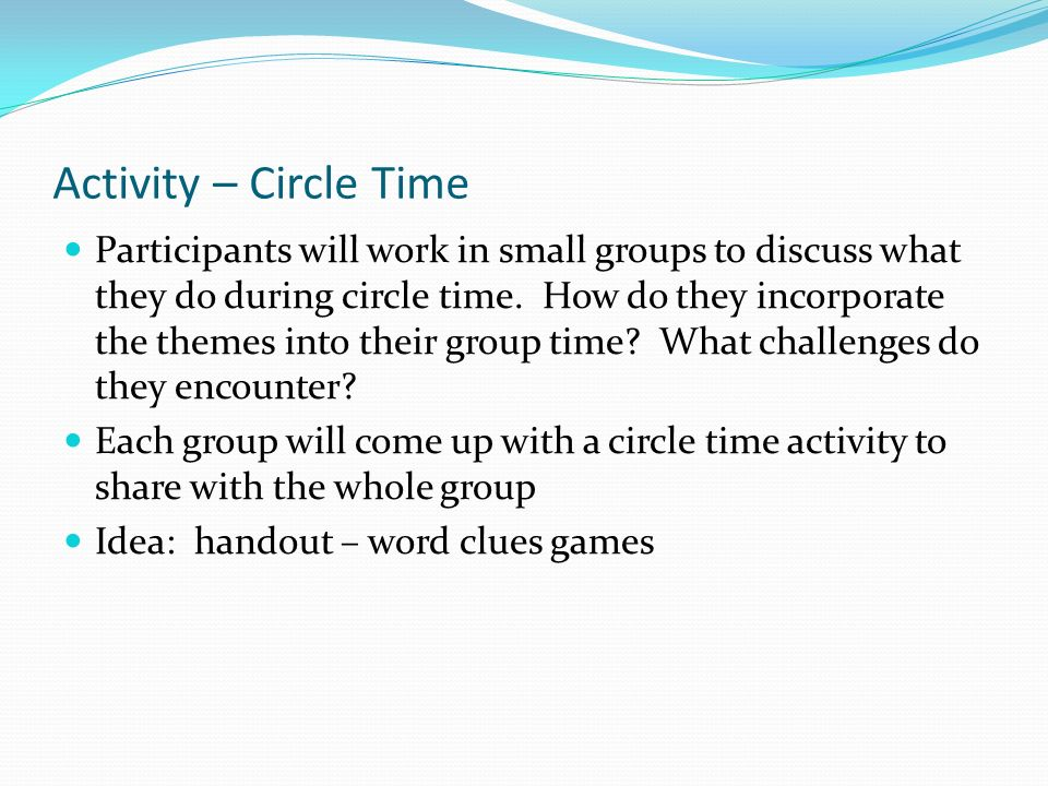 Activity – Circle Time