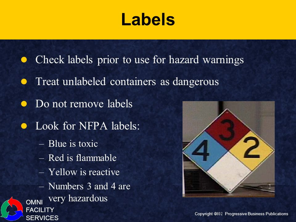 Labels Check labels prior to use for hazard warnings
