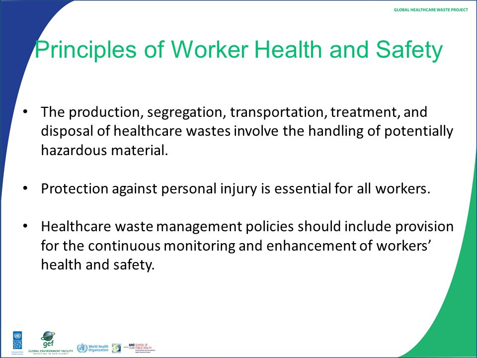 Health and safety principles in the workplace