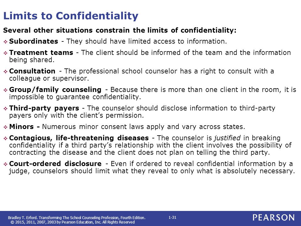 breaching confidentiality in counseling minors As important as patient confidentiality is, there are certain times that most people would agree that medical (doctor-patient) confidentiality needs to be waived for instance, parents need to have access to their kids' medical information, which.