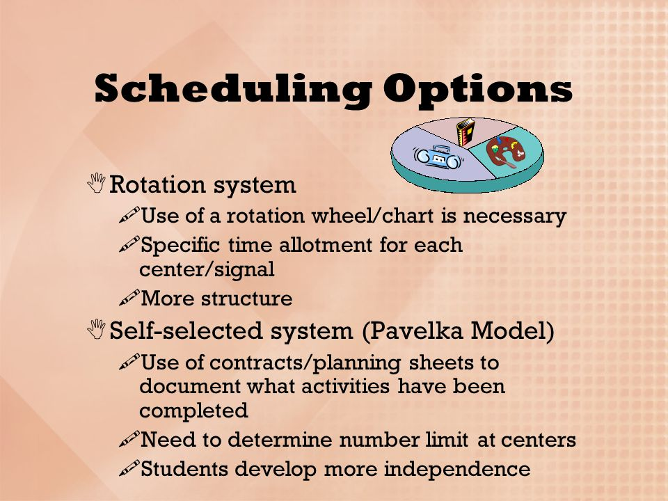 Scheduling Wheel Chart Learning Centers In The Differentiated Classrooms Ppt Download