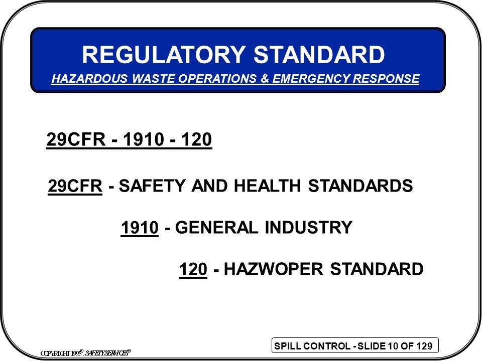 REGULATORY STANDARD 29CFR - 1910 - 120