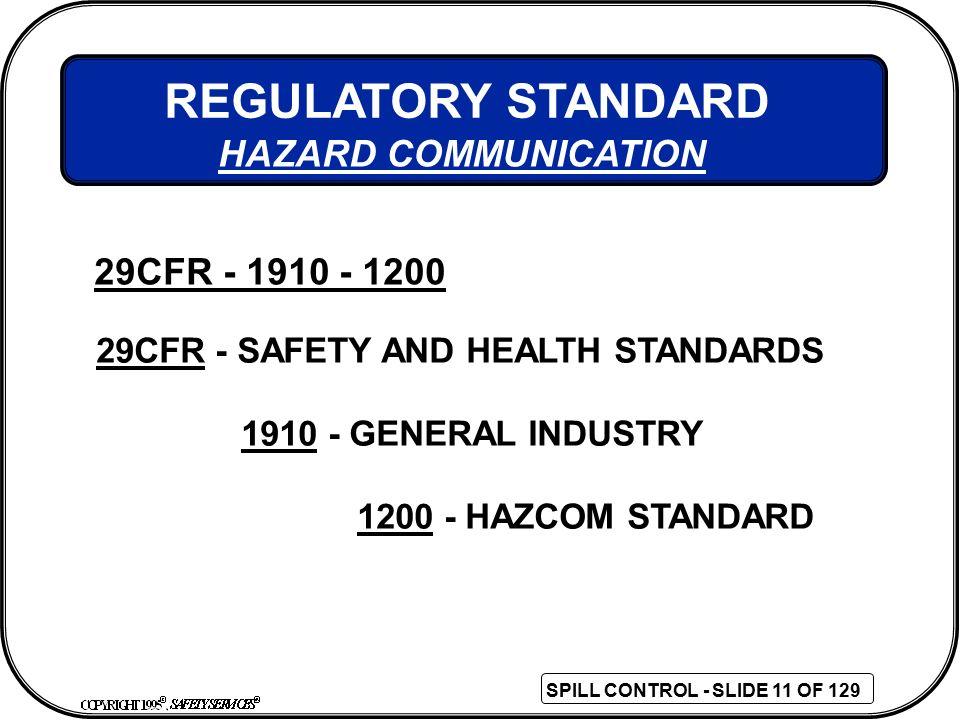 REGULATORY STANDARD HAZARD COMMUNICATION 29CFR - 1910 - 1200