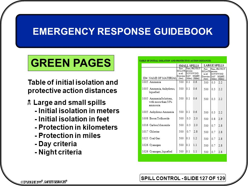 GREEN PAGES EMERGENCY RESPONSE GUIDEBOOK