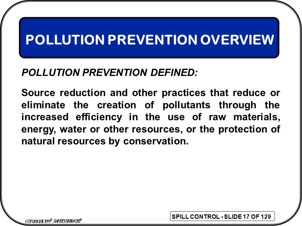 POLLUTION PREVENTION OVERVIEW