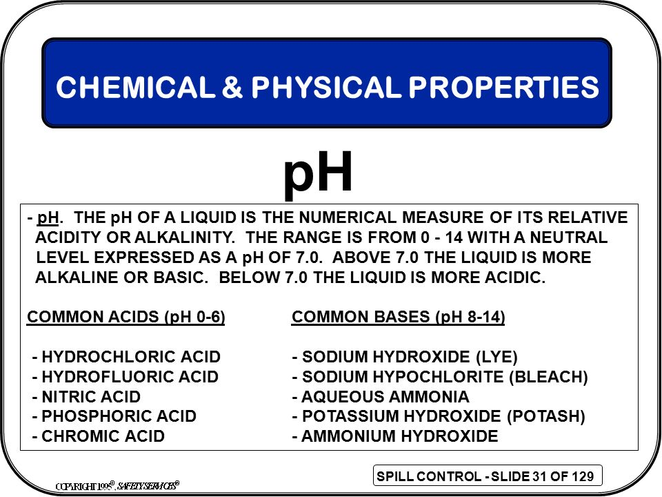 pH CHEMICAL & PHYSICAL PROPERTIES