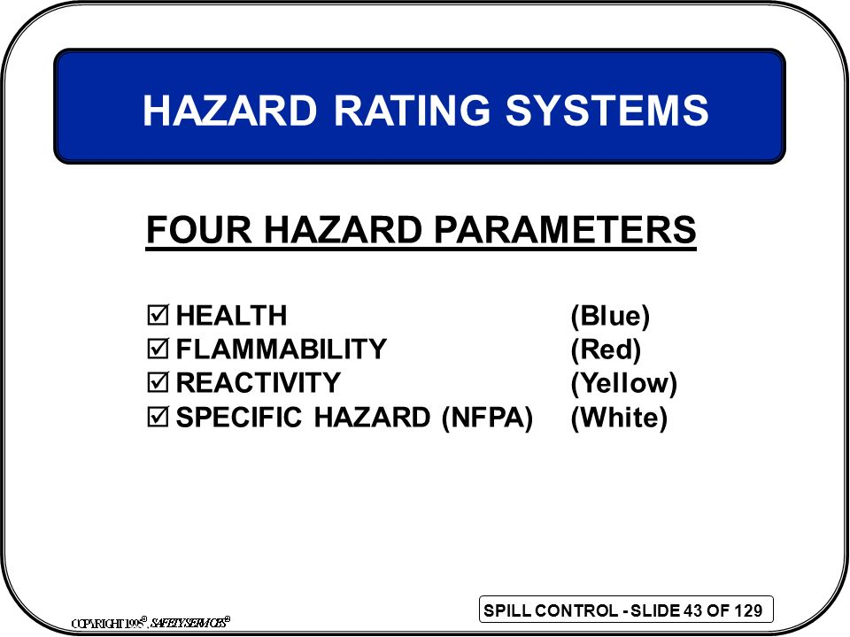 HAZARD RATING SYSTEMS FOUR HAZARD PARAMETERS HEALTH (Blue)