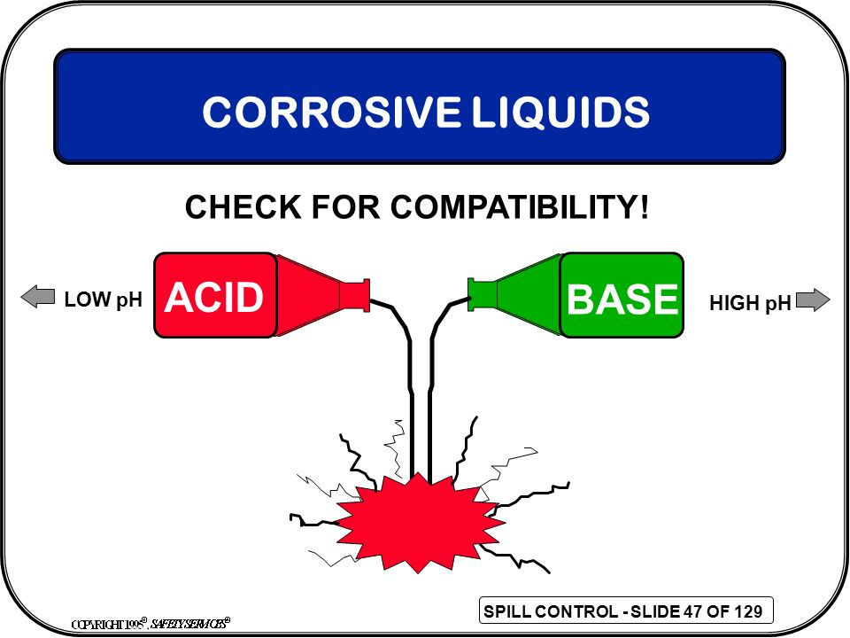CORROSIVE LIQUIDS CHECK FOR COMPATIBILITY! ACID BASE LOW pH HIGH pH 47