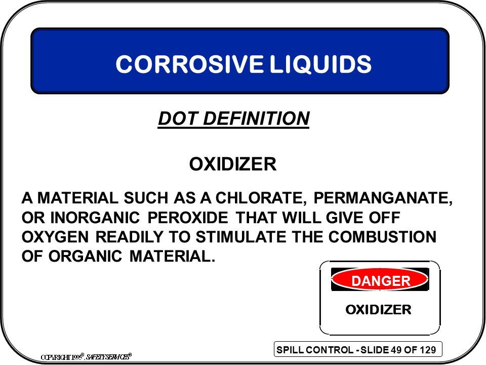 CORROSIVE LIQUIDS DOT DEFINITION OXIDIZER