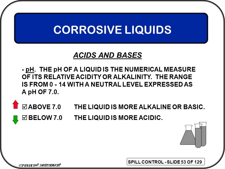 CORROSIVE LIQUIDS - pH. THE pH OF A LIQUID IS THE NUMERICAL MEASURE