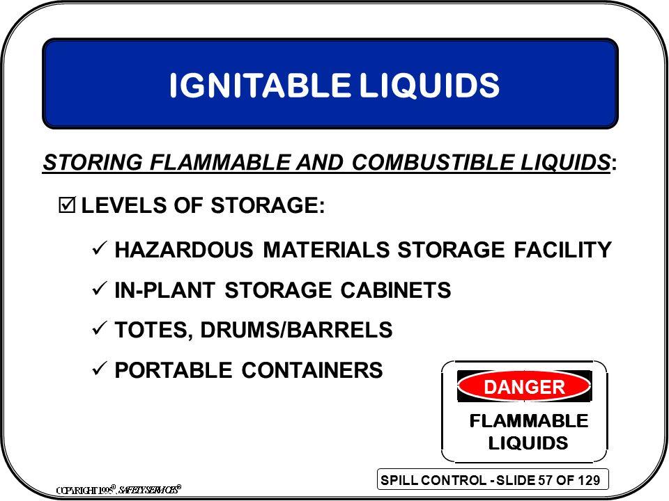 IGNITABLE LIQUIDS STORING FLAMMABLE AND COMBUSTIBLE LIQUIDS: