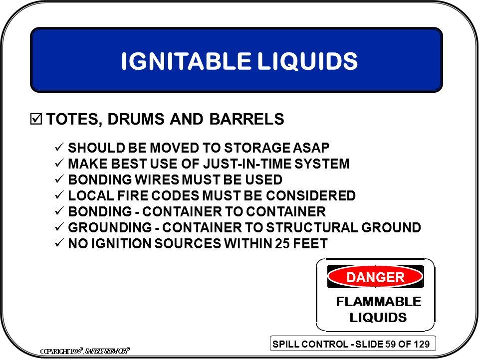 IGNITABLE LIQUIDS TOTES, DRUMS AND BARRELS