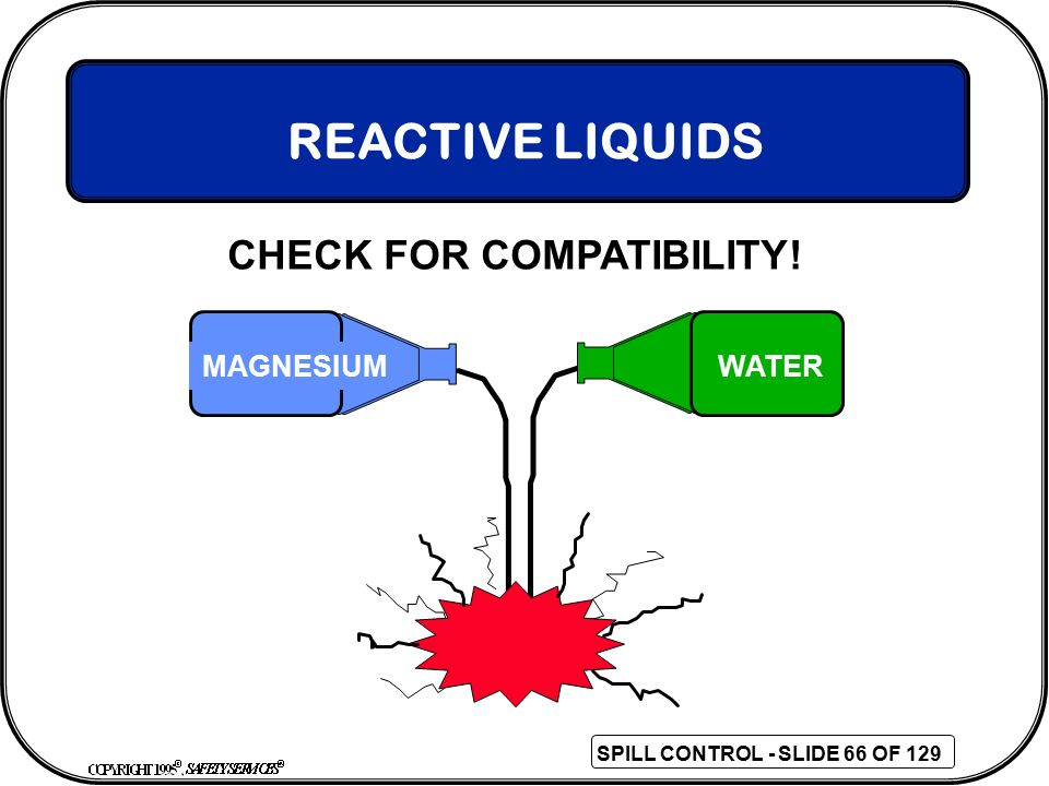 REACTIVE LIQUIDS CHECK FOR COMPATIBILITY! MAGNESIUM WATER 66