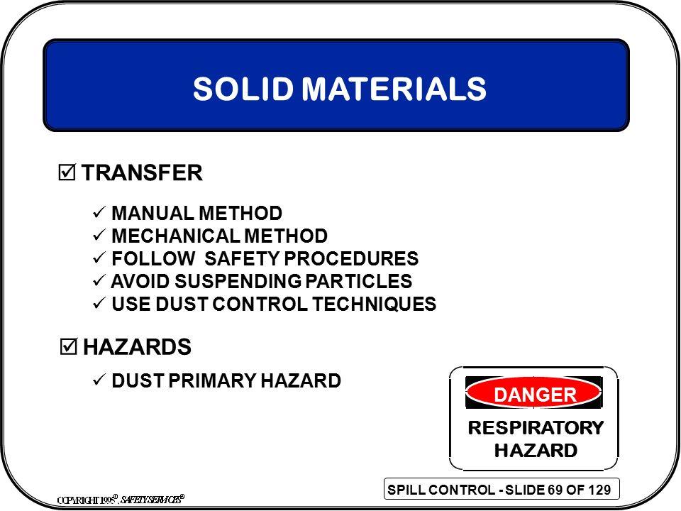 SOLID MATERIALS TRANSFER HAZARDS MANUAL METHOD MECHANICAL METHOD