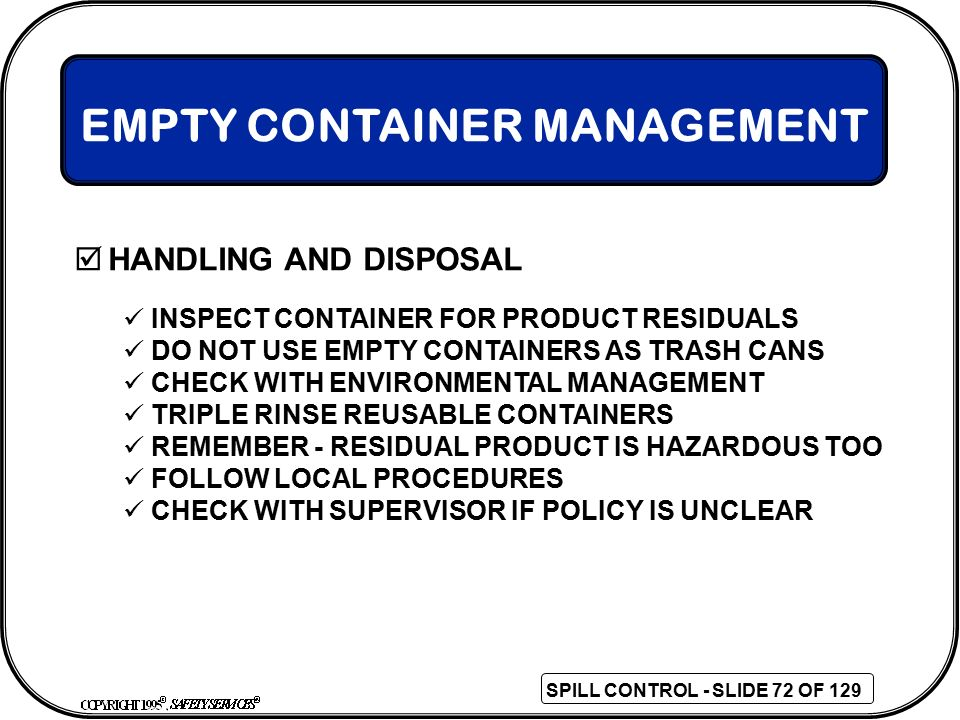 EMPTY CONTAINER MANAGEMENT