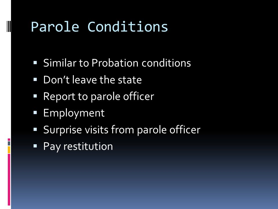 conditions of probation Sex offender conditions of portion of sex offenders are actively being supervised by the nevada department of public safety division of parole and probation.