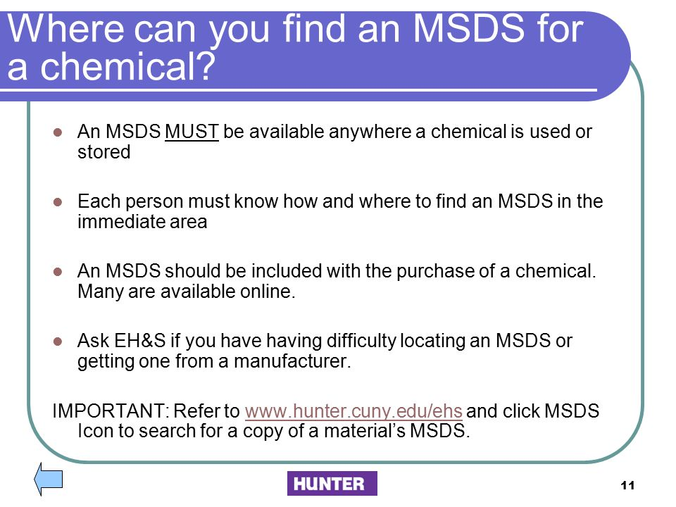 Where can you find an MSDS for a chemical