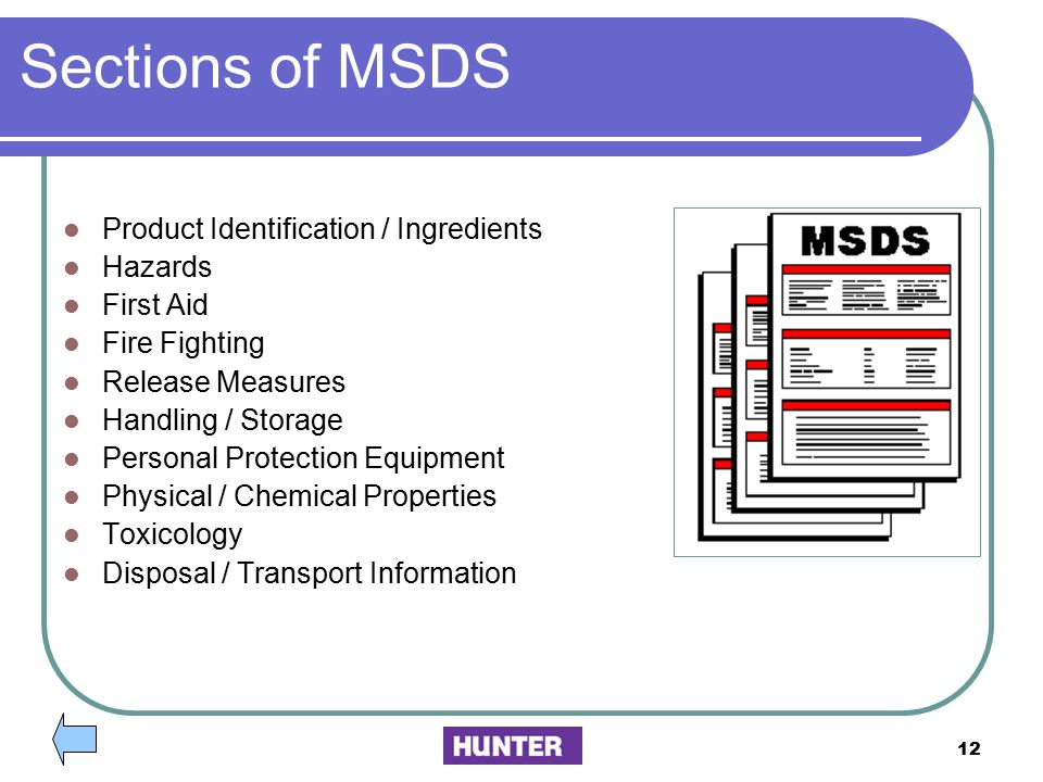 Sections of MSDS Product Identification / Ingredients Hazards