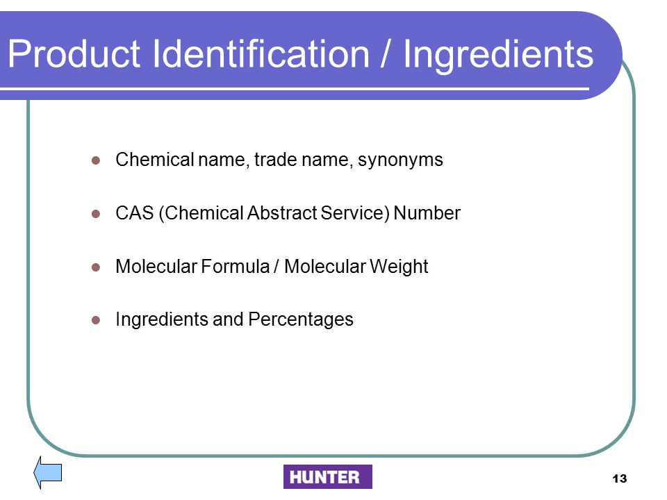 Product Identification / Ingredients