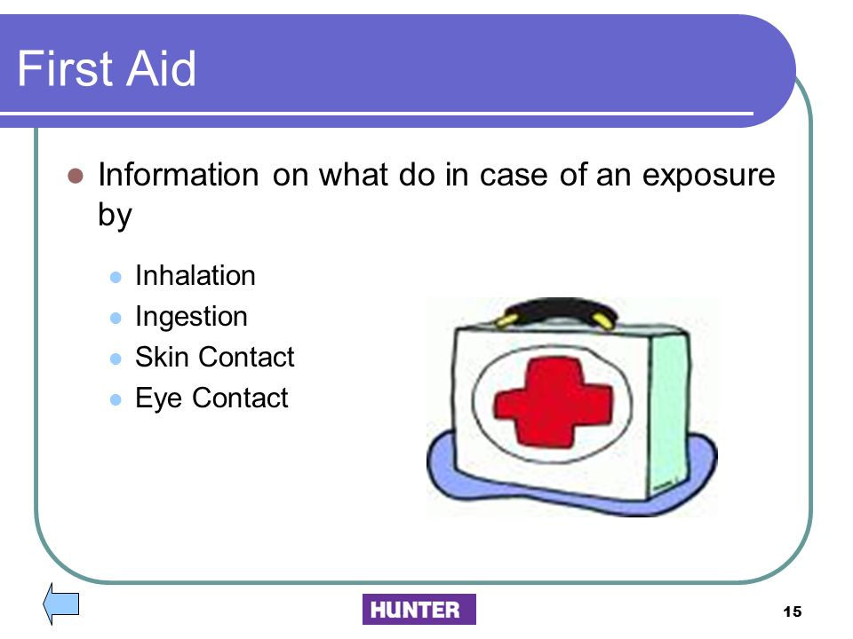 First Aid Information on what do in case of an exposure by Inhalation