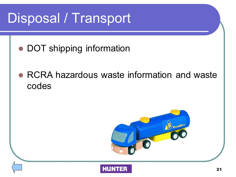 Disposal / Transport DOT shipping information