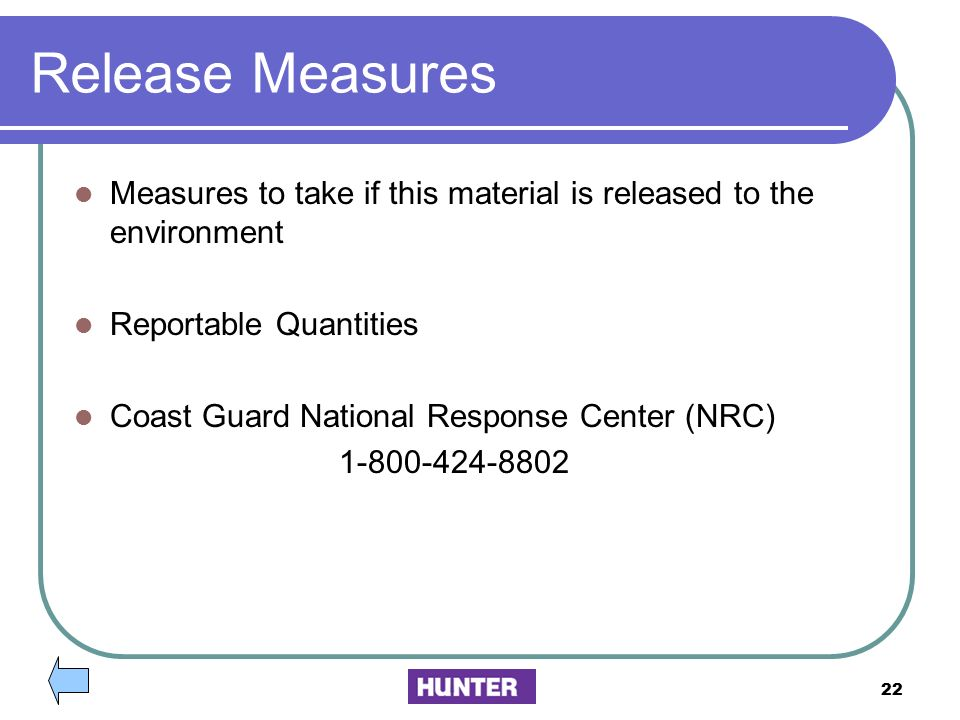 Release Measures Measures to take if this material is released to the environment. Reportable Quantities.