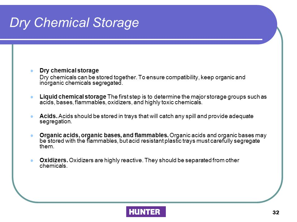 Dry Chemical Storage Dry chemical storage