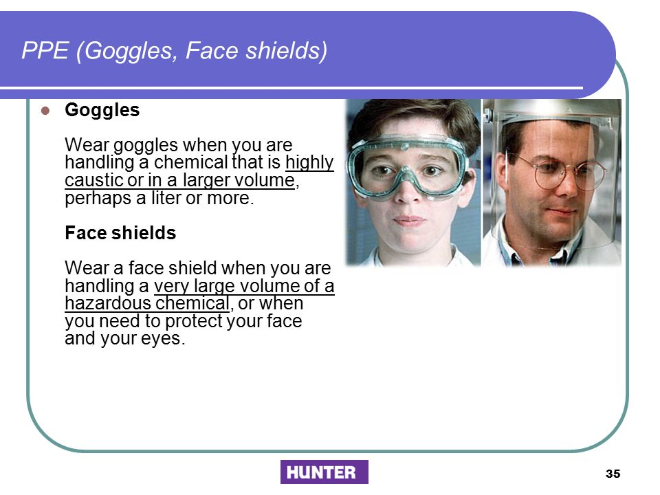 PPE (Goggles, Face shields)