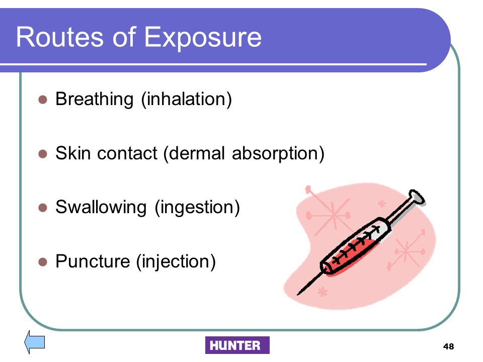 Routes of Exposure Breathing (inhalation)