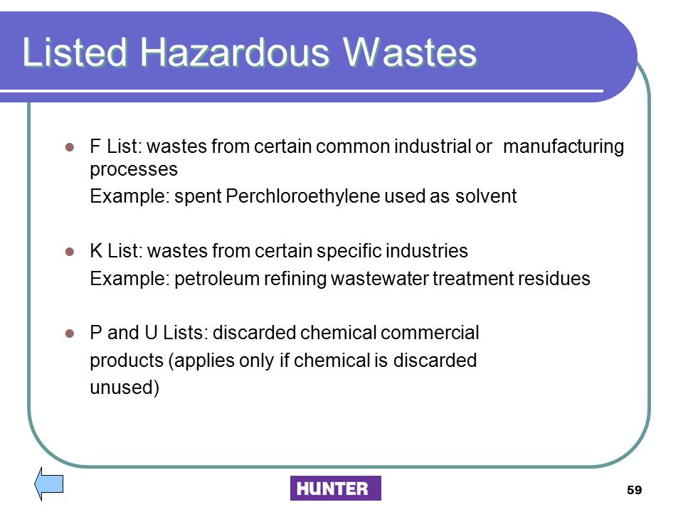 Listed Hazardous Wastes
