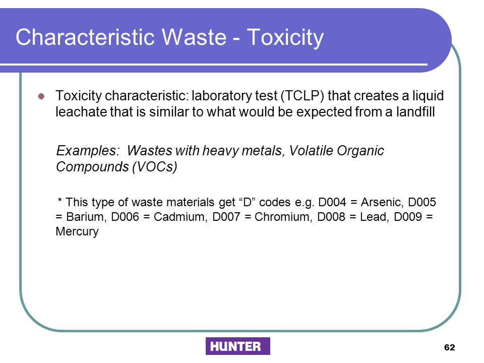 Characteristic Waste - Toxicity