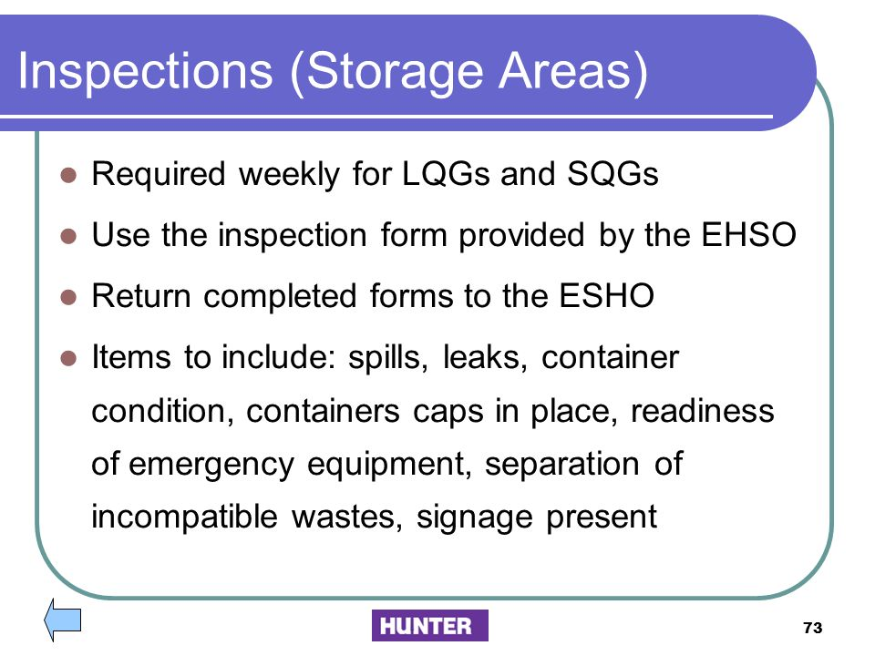 Inspections (Storage Areas)