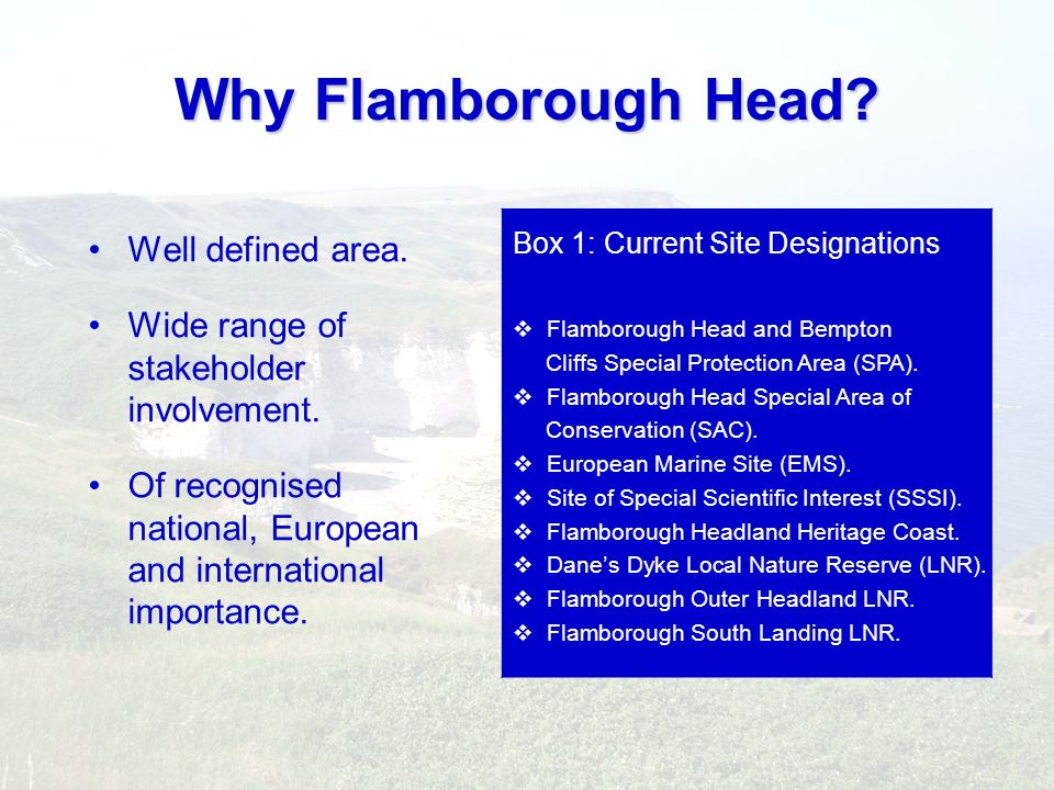 Why Flamborough Head Well defined area.