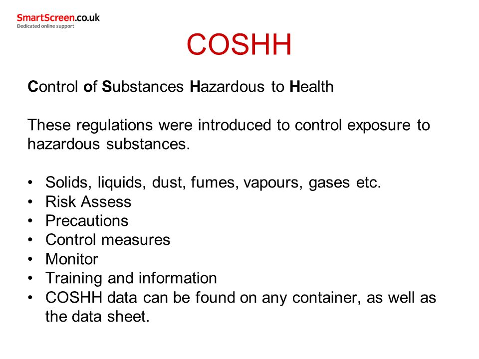 control of substances hazardous to health Level 2 award the safer food group's accredited level 2 course presents the principles of control of substances hazardous to health (coshh.